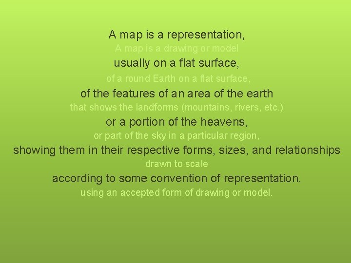 A map is a representation, A map is a drawing or model usually on