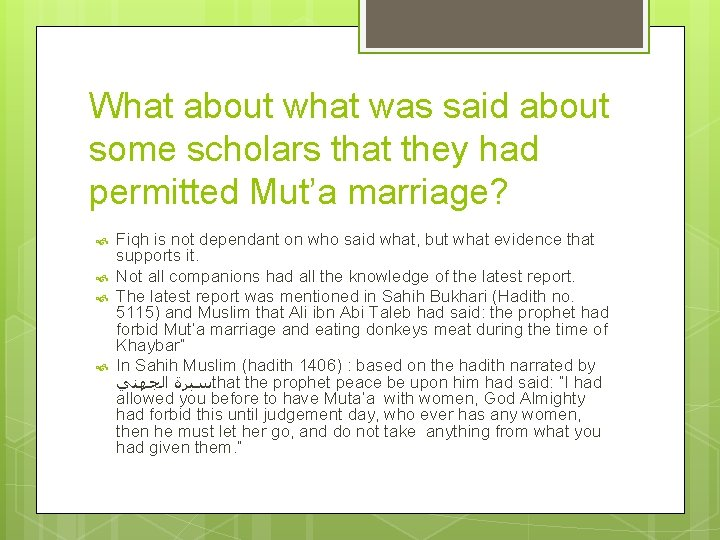 What about what was said about some scholars that they had permitted Mut'a marriage?