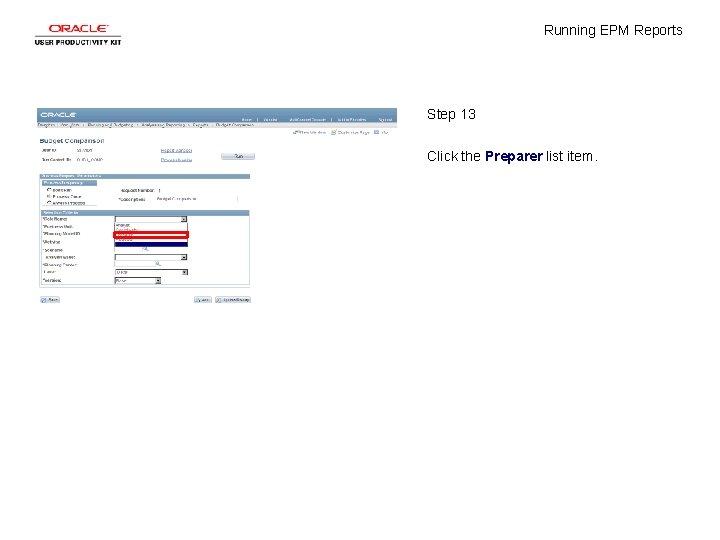 Running EPM Reports Step 13 Click the Preparer list item.