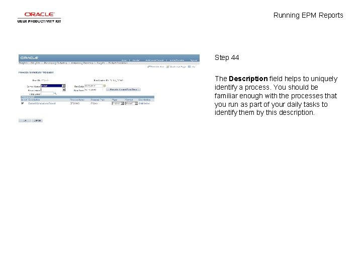 Running EPM Reports Step 44 The Description field helps to uniquely identify a process.