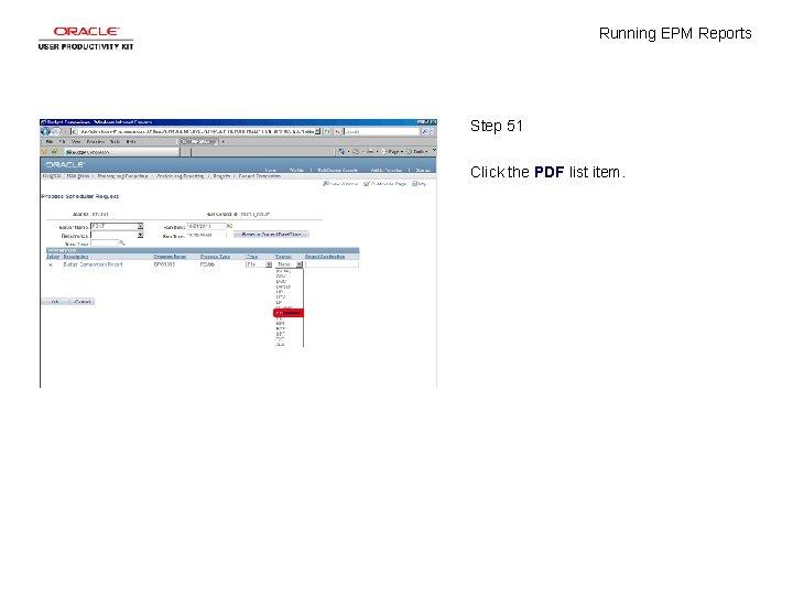 Running EPM Reports Step 51 Click the PDF list item.