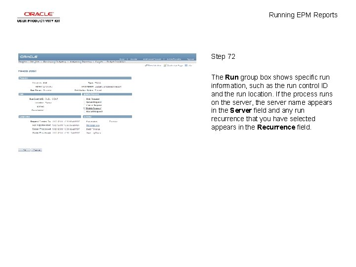 Running EPM Reports Step 72 The Run group box shows specific run information, such