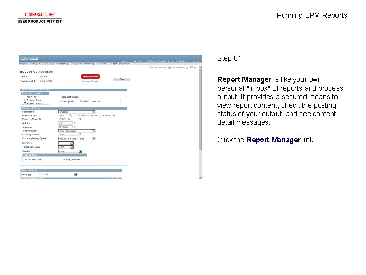 """Running EPM Reports Step 81 Report Manager is like your own personal """"in box"""""""