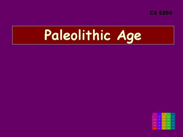 C 5 $200 Paleolithic Age