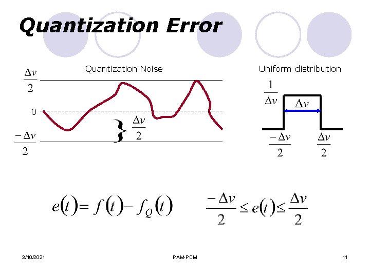 Quantization Error Quantization Noise Uniform distribution 0 3/10/2021 PAM-PCM 11