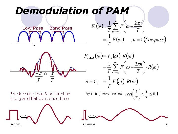 Demodulation of PAM Low Pass Band Pass 0 0 *make sure that Sinc function