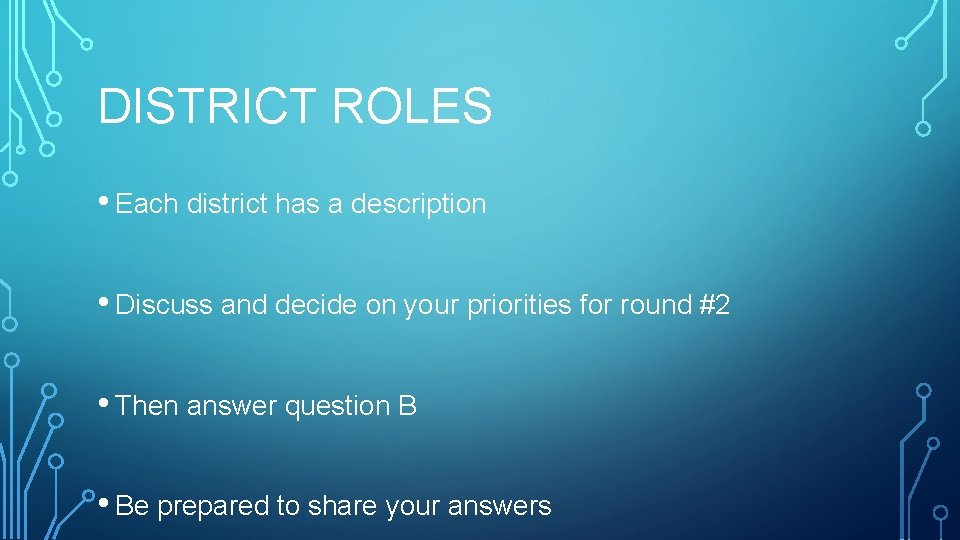 DISTRICT ROLES • Each district has a description • Discuss and decide on your