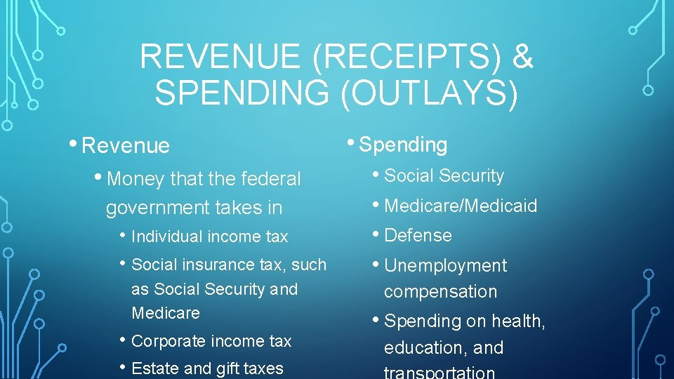 REVENUE (RECEIPTS) & SPENDING (OUTLAYS) • Revenue • Money that the federal government takes