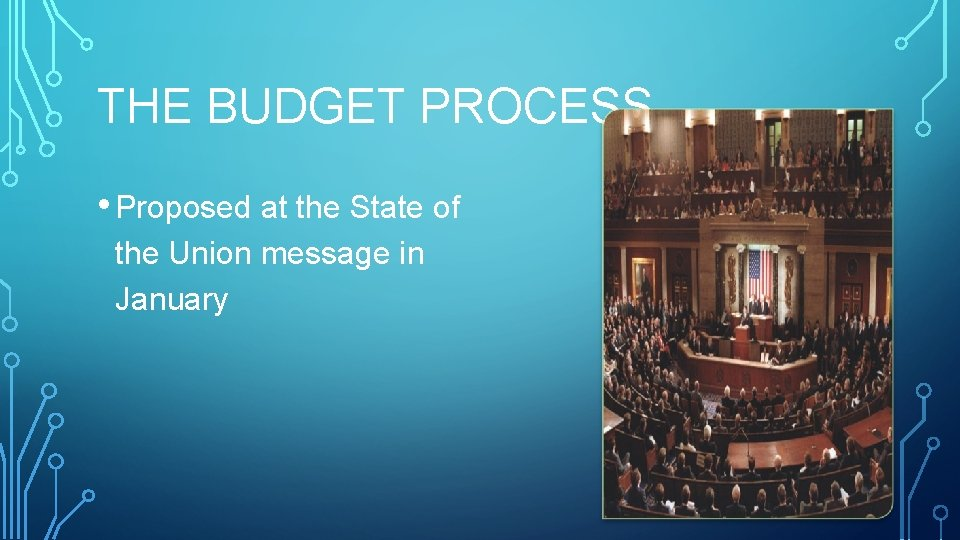 THE BUDGET PROCESS • Proposed at the State of the Union message in January