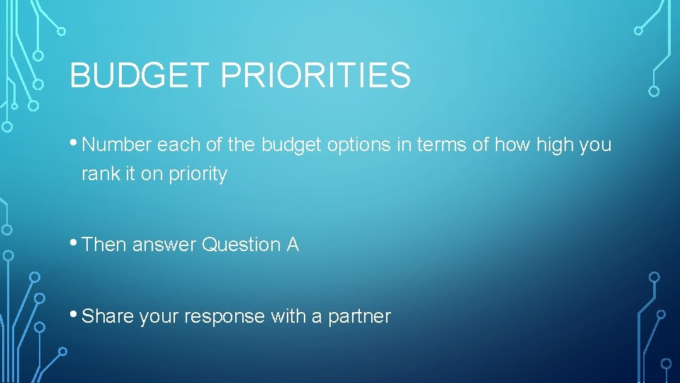 BUDGET PRIORITIES • Number each of the budget options in terms of how high