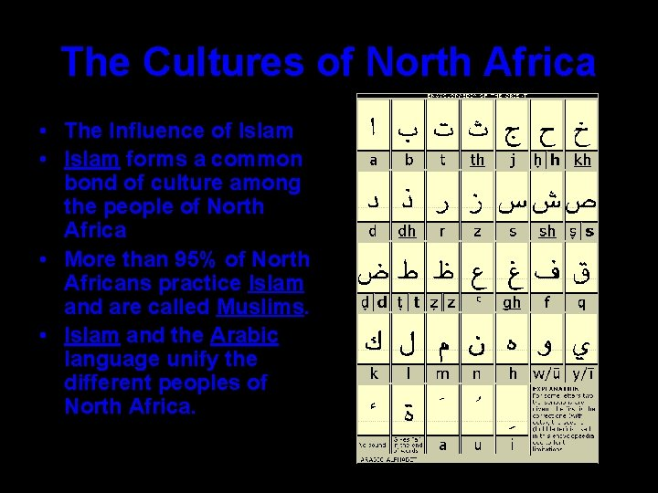 The Cultures of North Africa • The Influence of Islam • Islam forms a