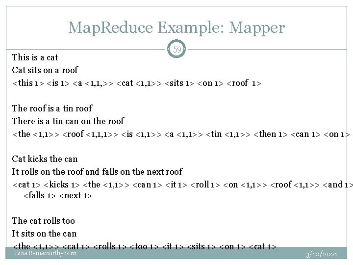 Map. Reduce Example: Mapper 59 This is a cat Cat sits on a roof