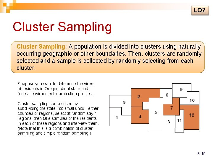 LO 2 Cluster Sampling: A population is divided into clusters using naturally occurring geographic