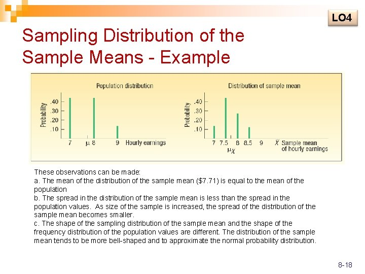LO 4 Sampling Distribution of the Sample Means - Example These observations can be