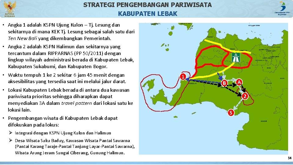 REPUBLIK INDONESIA STRATEGI PENGEMBANGAN PARIWISATA KABUPATEN LEBAK • Angka 1 adalah KSPN Ujung Kulon