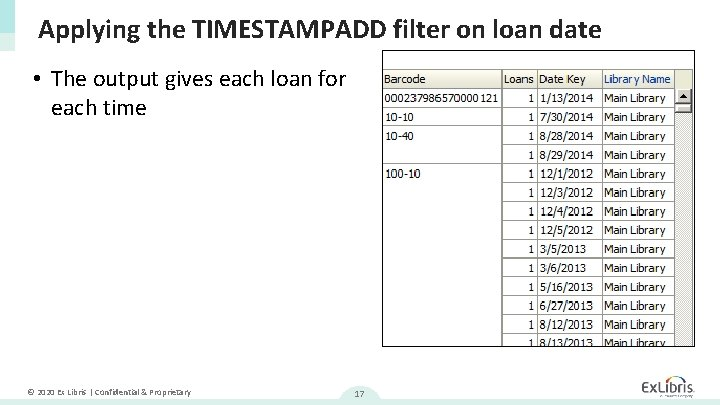 Applying the TIMESTAMPADD filter on loan date • The output gives each loan for