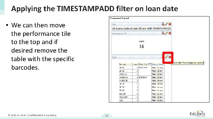 Applying the TIMESTAMPADD filter on loan date • We can then move the performance