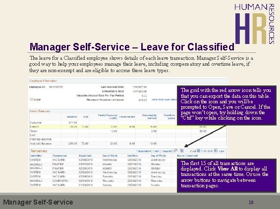 Manager Self-Service – Leave for Classified The leave for a Classified employee shows details
