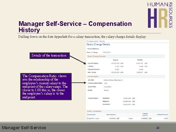 Manager Self-Service – Compensation History Drilling down on the date hyperlink for a salary