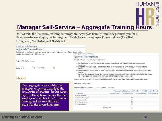Manager Self-Service – Aggregate Training Hours Just as with the individual training summary, the