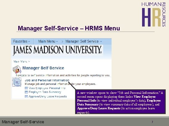 """Manager Self-Service – HRMS Menu A new window opens to show """"Job and Personal"""