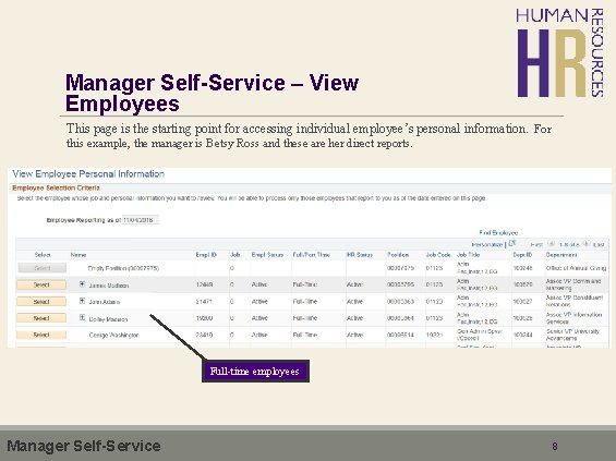 Manager Self-Service – View Employees This page is the starting point for accessing individual
