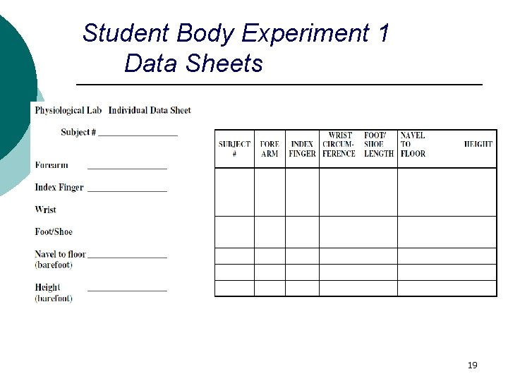 Student Body Experiment 1 Data Sheets 19