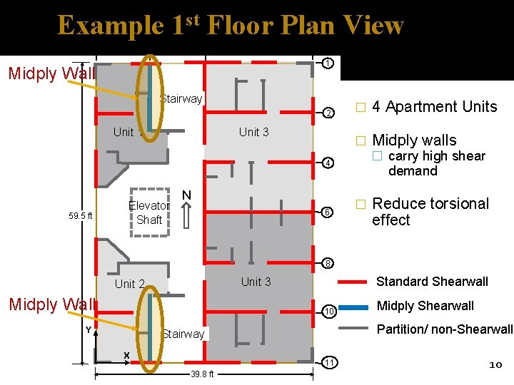 Example 1 st Floor Plan View B A E D 1 Midply Wall Stairway