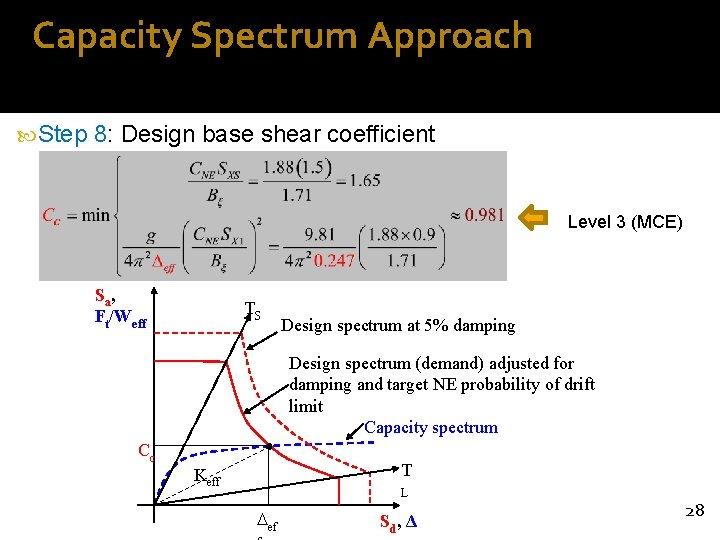 Capacity Spectrum Approach Step 8: Design base shear coefficient Level 3 (MCE) Sa ,