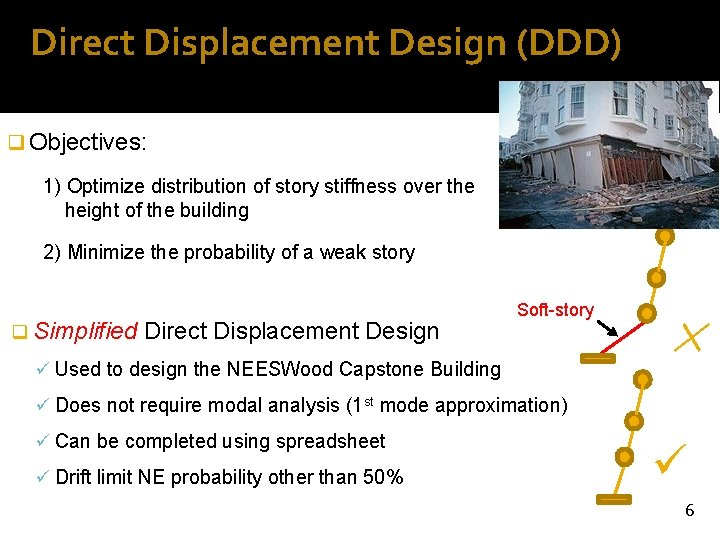 Direct Displacement Design (DDD) q Objectives: 1) Optimize distribution of story stiffness over the