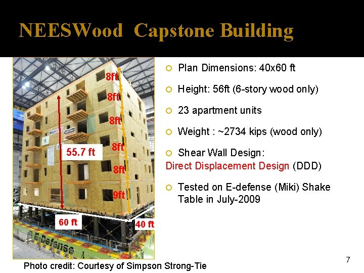 NEESWood Capstone Building 8 ft 8 ft 55. 7 ft 8 ft Plan Dimensions: