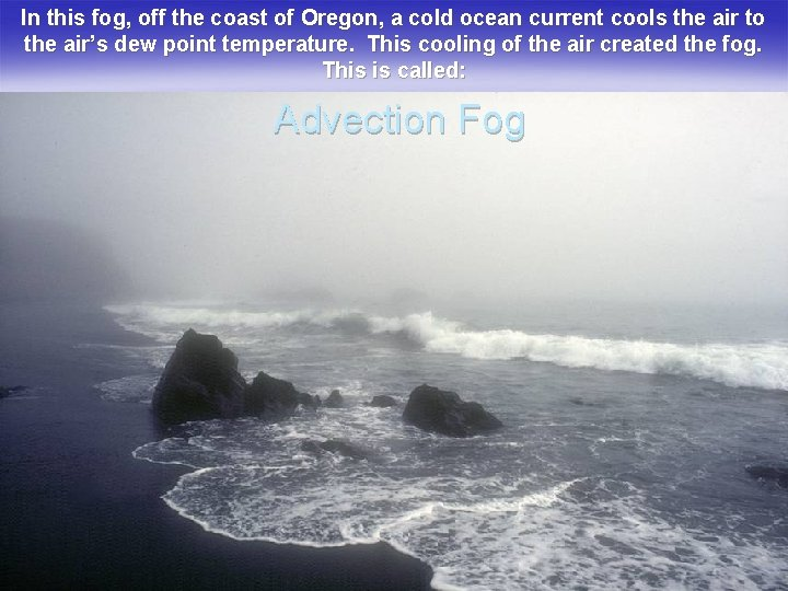 In this fog, off the coast of Oregon, a cold ocean current cools the