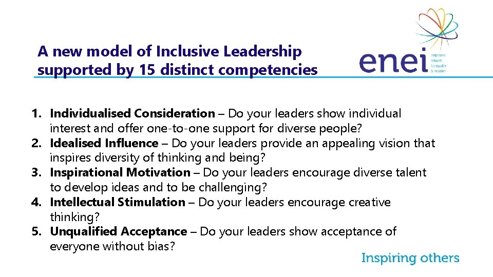 A new model of Inclusive Leadership supported by 15 distinct competencies 1. Individualised Consideration