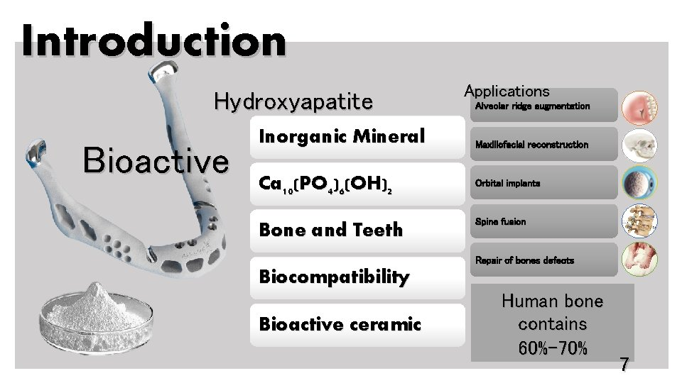 Introduction Hydroxyapatite Bioactive Inorganic Mineral Ca 10(PO 4)6(OH)2 Bone and Teeth Applications Alveolar ridge