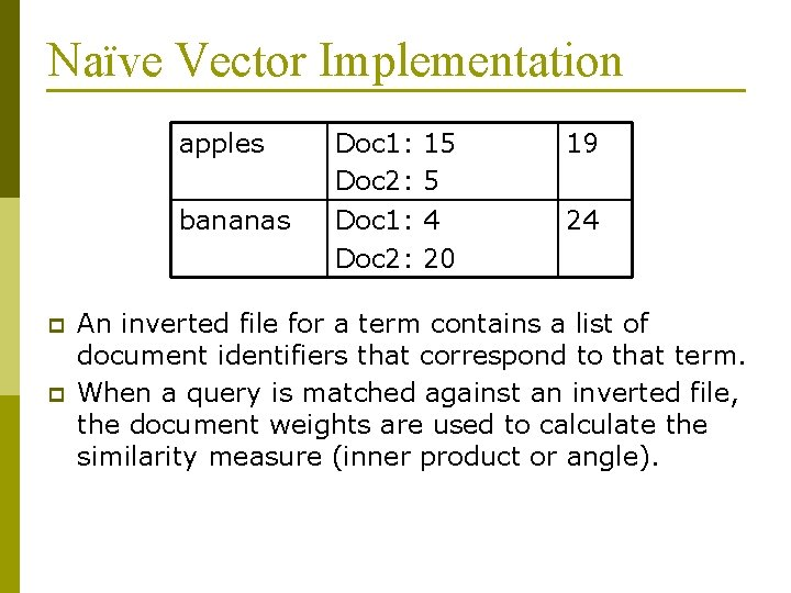 Naïve Vector Implementation apples bananas p p Doc 1: Doc 2: 15 5 4