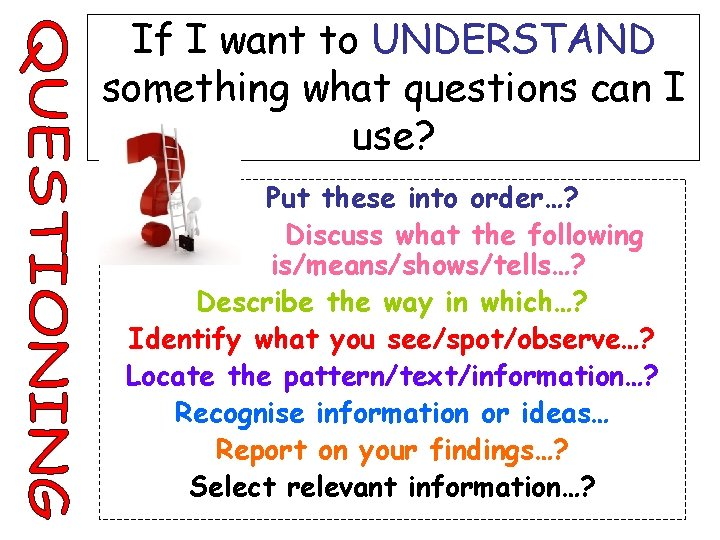 If I want to UNDERSTAND something what questions can I use? Put these into