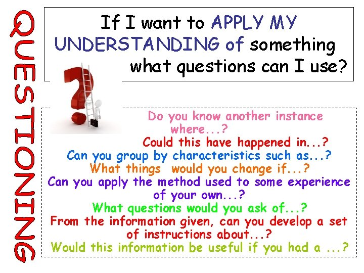 If I want to APPLY MY UNDERSTANDING of something what questions can I use?