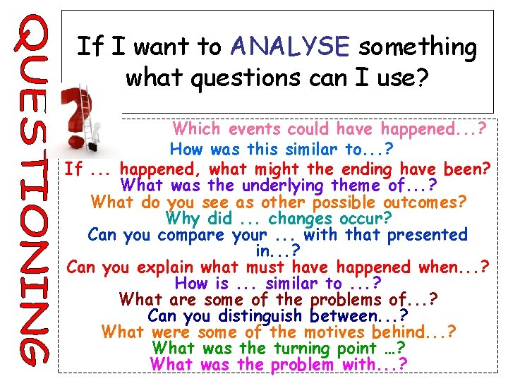 If I want to ANALYSE something what questions can I use? Which events could