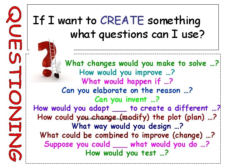 If I want to CREATE something what questions can I use? What changes would