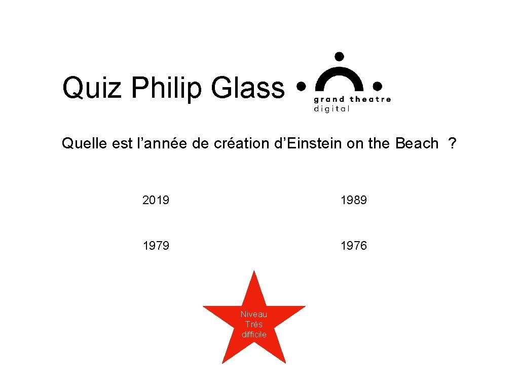 Quiz Philip Glass Quelle est l'année de création d'Einstein on the Beach ? 2019