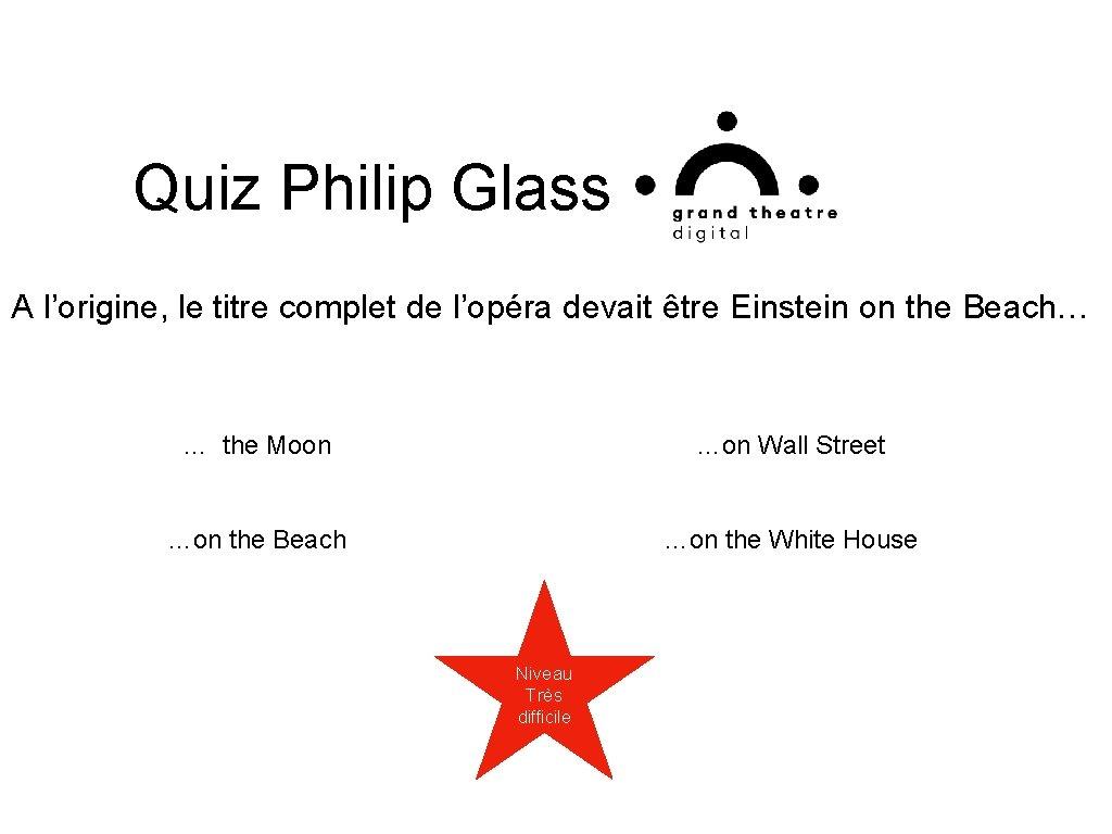 Quiz Philip Glass A l'origine, le titre complet de l'opéra devait être Einstein on