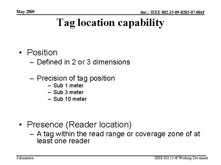May 2009 doc. : IEEE 802. 15 -09 -0203 -07 -004 f Tag location