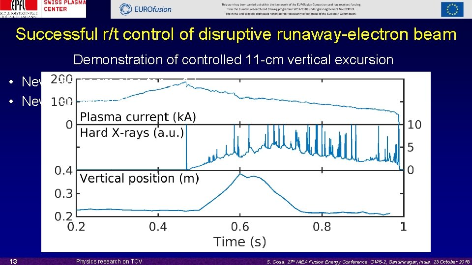 Successful r/t control of disruptive runaway-electron beam Demonstration of controlled 11 -cm vertical excursion