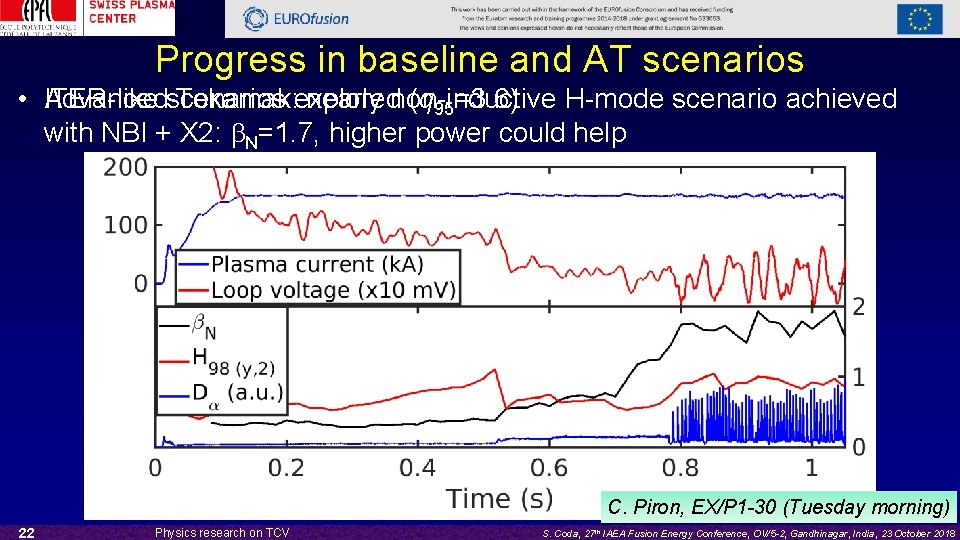 Progress in baseline and AT scenarios • Advanced ITER-like scenarios (q 95=3. 6) Tokamak: