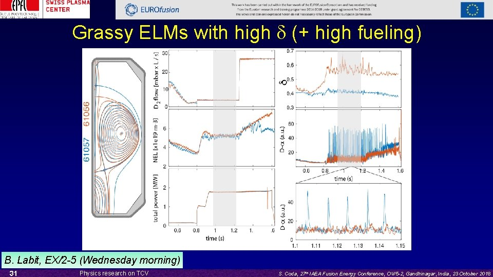 Grassy ELMs with high d (+ high fueling) B. Labit, EX/2 -5 (Wednesday morning)