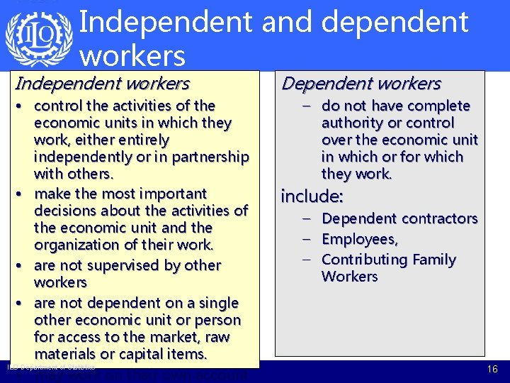 Independent and dependent workers Independent workers • control the activities of the economic units