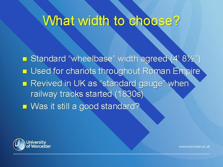 "What width to choose? n n Standard ""wheelbase"" width agreed (4' 8½'') Used for"