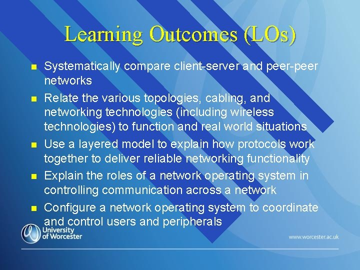 Learning Outcomes (LOs) n n n Systematically compare client-server and peer-peer networks Relate the