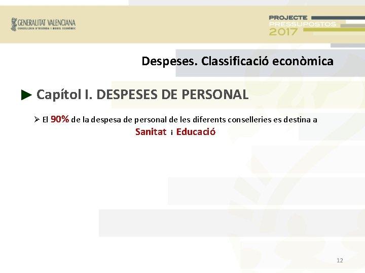 Despeses. Classificació econòmica ► Capítol I. DESPESES DE PERSONAL El 90% de la despesa