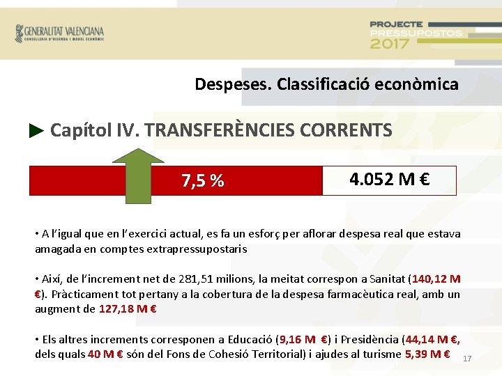 Despeses. Classificació econòmica ► Capítol IV. TRANSFERÈNCIES CORRENTS + 7, 5 % 4. 052